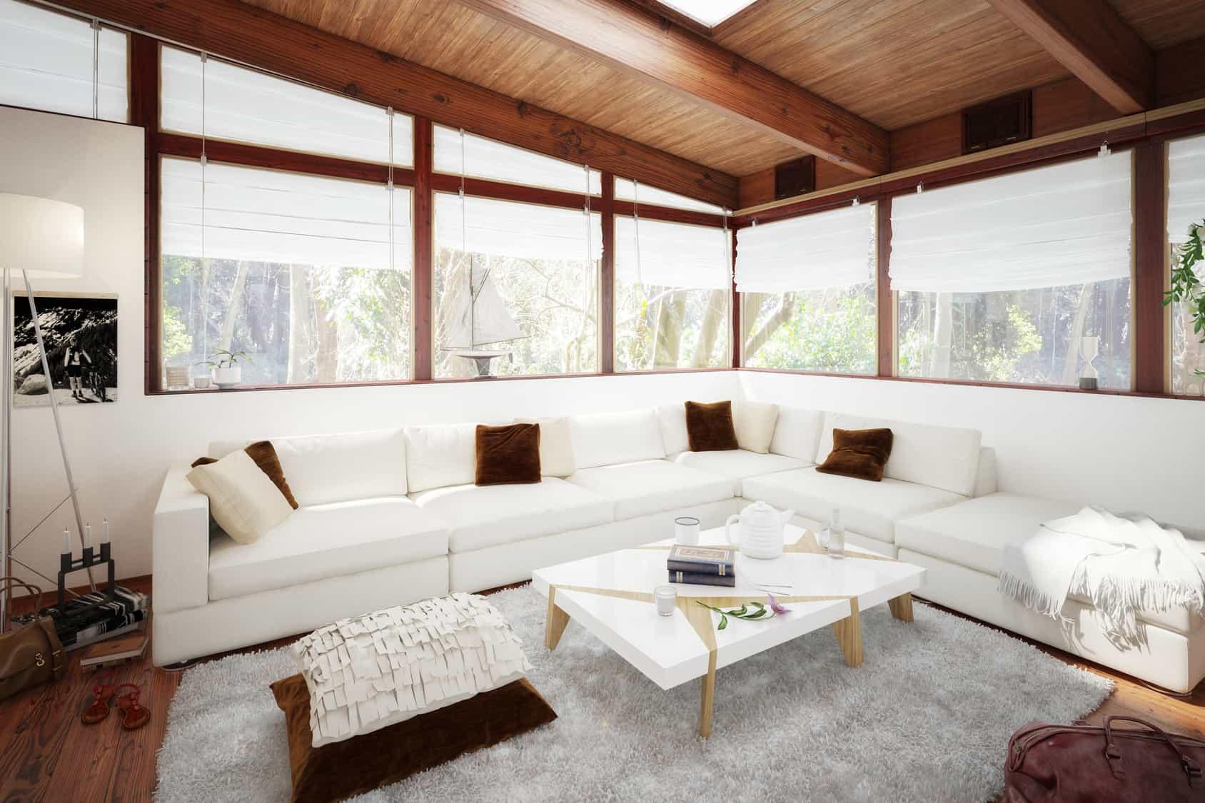 véranda rétro avec toit en bois